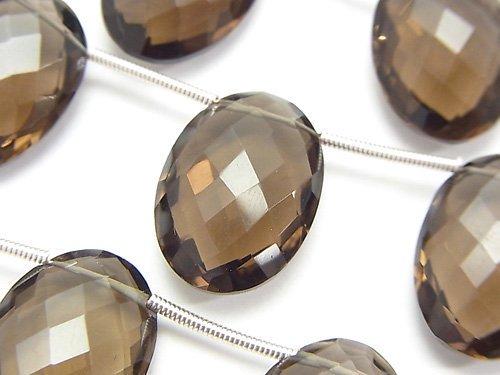 宝石質スモーキークォーツAAA オーバルカット(クッションカット)18×13×7mm 半連/1連(約14cm)