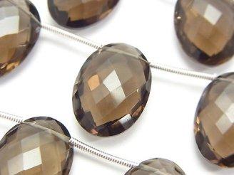 天然石卸 宝石質スモーキークォーツAAA オーバルカット(クッションカット)18×13×7mm 半連/1連(約14cm)