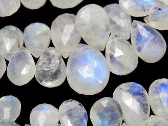 天然石卸 宝石質レインボームーンストーンAA++ ペアシェイプブリオレットカット 1連(約17cm)