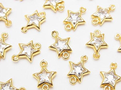 メタルパーツ スター(星) 両カンチャーム ゴールドカラー(CZ付)