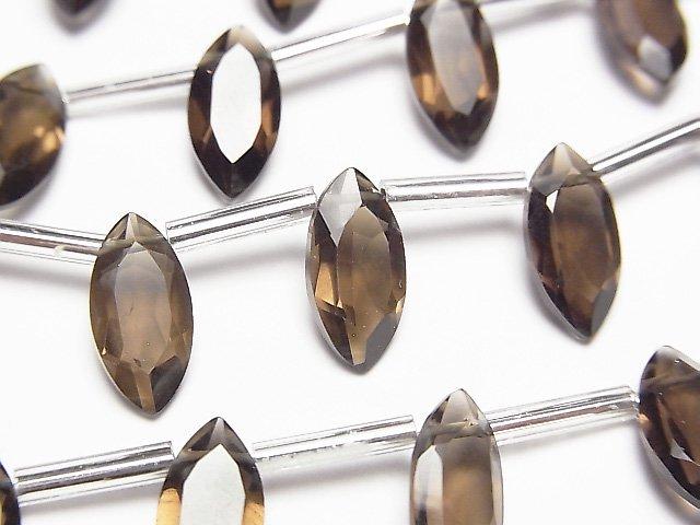 宝石質スモーキークォーツAAA マーキスファセットカット12×6mm 1連(約12cm)