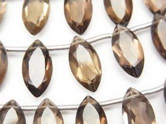 天然石卸 1連1,280円!宝石質スモーキークォーツAAA マーキスファセットカット14×7mm 1連(10粒)