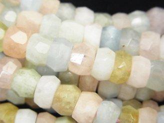 天然石卸 ベリルミックス(マルチカラーアクアマリン)AA ラフボタン〜タンブルカット8×8×5mm 半連/1連(約38cm)