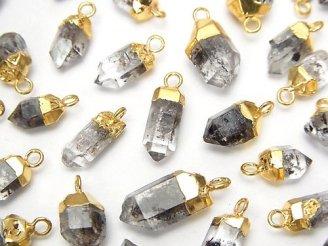 天然石卸 3個880円!アフガニスタン産クリスタル ポイント チャーム ゴールドカラー 3個
