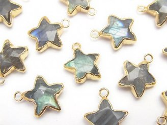 天然石卸 2個1,180円!宝石質ラブラドライトAA++ カット入りスター型 チャーム ゴールドカラー 2個