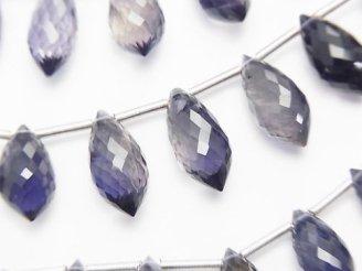 天然石卸 極上カット!宝石質アイオライトAAA マーキスライス ブリオレットカット 1連(10粒)