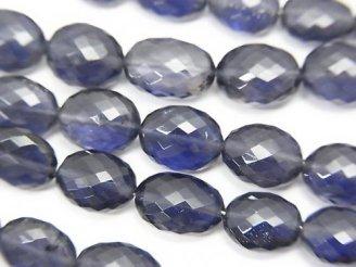 天然石卸 極上カット!宝石質アイオライトAAA+ オーバルカット 1連(約9cm)