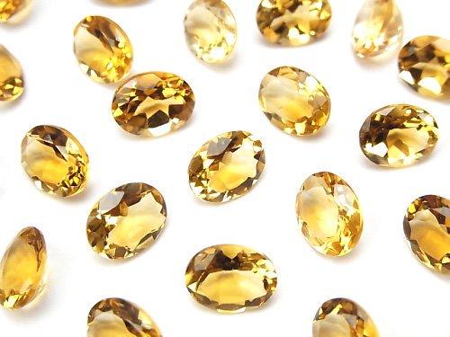 宝石質ブランデーシトリンAAA 穴なしオーバルファセットカット9×7mm 【ライトカラー】 5粒
