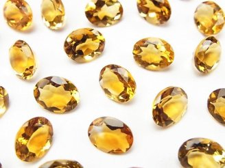 天然石卸 宝石質ブランデーシトリンAAA 穴なしオーバルファセットカット9×7mm 【ミディアムカラー】 5粒980円!