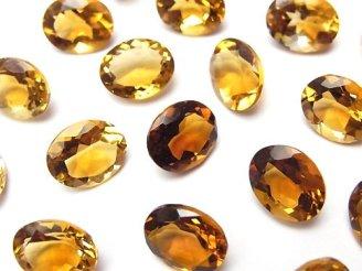 天然石卸 宝石質ブランデーシトリンAAA 穴なしオーバルファセットカット10×8mm 4粒1,180円!