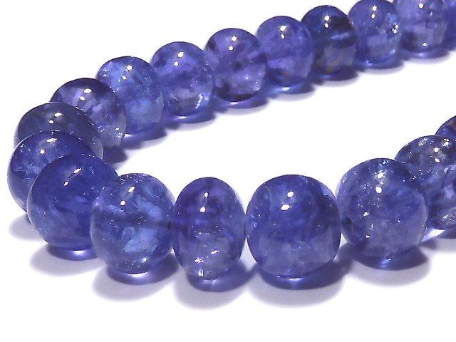 【1点もの】宝石質タンザナイトAAAA ロンデル(ボタン) 1連(約19cm) NO.4