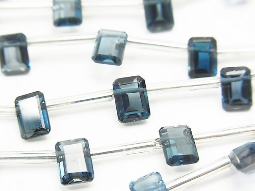 宝石質ロンドンブルートパーズAAA レクタングル ファセットカット7×5mm 1連(8粒)