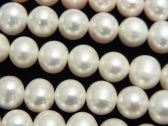 天然石卸 1連4,980円!淡水真珠AAA ポテト9〜10mm ホワイト 1連(約38cm)