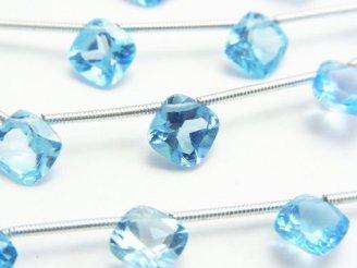天然石卸 宝石質スイスブルートパーズAAA- ダイヤファセットカット8×8×4mm 半連/1連(8粒)