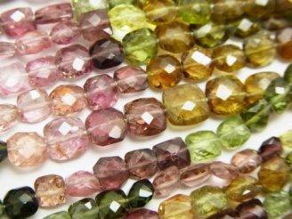 天然石卸 宝石質マルチカラートルマリンAAA- スクエア&レクタングルカット 半連/1連(約35cm)