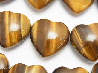 天然石卸 イエロータイガーアイAA 大粒横穴ハート20×20×10mm 半連/1連(約35cm)