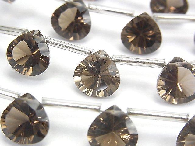 宝石質スモーキークォーツAAA マロン コンケーブカット10×10mm 半連/1連(8粒)