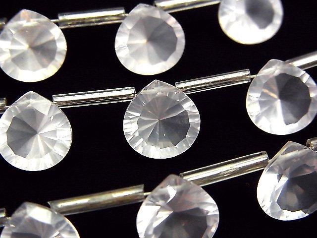 宝石質マダガスカル産ローズクォーツAAA マロン コンケーブカット10×10mm 半連/1連(8粒)