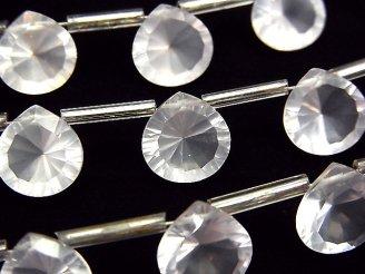 天然石卸 宝石質マダガスカル産ローズクォーツAAA マロン コンケーブカット10×10mm 半連/1連(8粒)