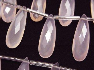 宝石質ピンクカラーカルセドニーAAA 縦長ペアシェイプ ブリオレットカット25×8mm 半連/1連(8粒)