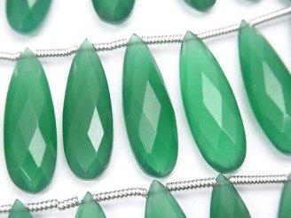 天然石卸 宝石質グリーンオニキスAAA 縦長ペアシェイプ ブリオレットカット24×8mm 半連/1連(10粒)