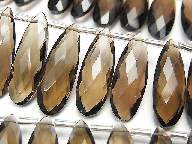 宝石質スモーキークォーツAAA 縦長ペアシェイプ ブリオレットカット24×8mm 半連/1連(8粒)