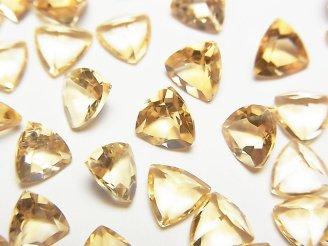 宝石質シトリンAAA 穴なしトライアングルファセットカット6×6mm 10粒