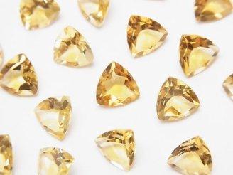 天然石卸 宝石質シトリンAAA 穴なしトライアングルファセットカット8×8mm 5粒780円!