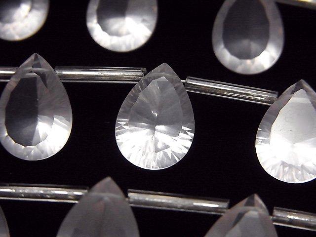 宝石質マダガスカル産ローズクォーツAAA ペアシェイプ コンケーブカット14×10mm 半連/1連(8粒)