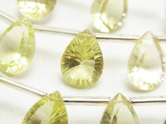 天然石卸 宝石質レモンクォーツAAA ペアシェイプ コンケーブカット14×10mm 半連/1連(10粒)