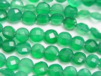 天然石卸 宝石質グリーンオニキスAAA コインカット6×6×4mm 半連/1連(約16cm)