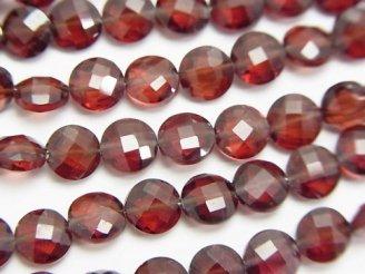 天然石卸 宝石質ガーネットAAA コインカット6×6×3mm 半連/1連(約16cm)