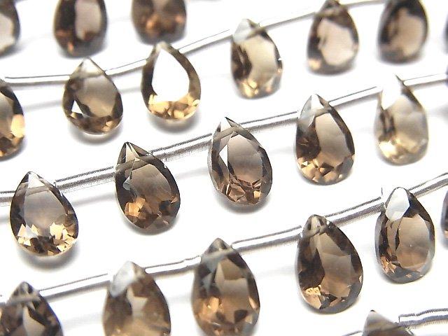 宝石質スモーキークォーツAAA ペアシェイプファセットカット9×6×4mm 1連(18粒)