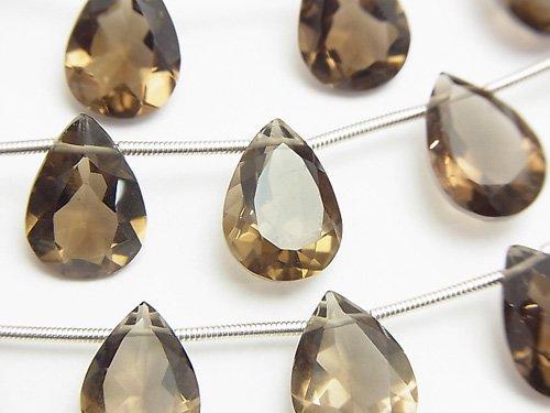 宝石質スモーキークォーツAAA ペアシェイプファセットカット14×10×6mm 半連/1連(8粒)