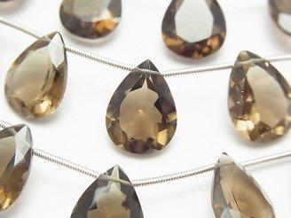 天然石卸 宝石質スモーキークォーツAAA ペアシェイプファセットカット16×12×6mm 半連/1連(8粒)