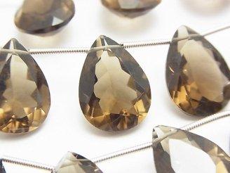 天然石卸 宝石質スモーキークォーツAAA ペアシェイプファセットカット18×13×7mm 半連/1連(8粒)