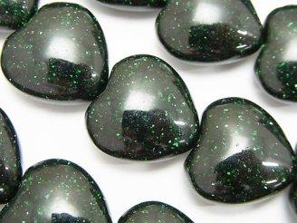 天然石卸 グリーンゴールドストーンAAA 縦穴ハート20×20×10mm 半連/1連(約36cm)