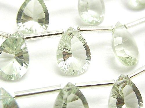 宝石質グリーンアメジストAAA ペアシェイプ コンケーブカット14×10mm 半連/1連(8粒)