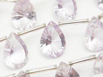 天然石卸 宝石質ピンクアメジストAAA ペアシェイプ コンケーブカット14×10mm 半連/1連(8粒)