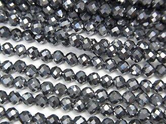 天然石卸 素晴らしい輝き!2本980円!高純度テラヘルツ鉱石 ラウンド〜セミラウンドカット3mm 1連(約37cm)