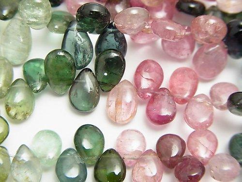 宝石質マルチカラートルマリンAA++ ペアシェイプ(プレーン) 半連/1連(約20cm)