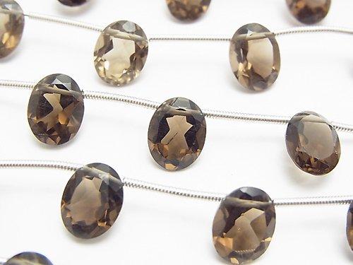 宝石質スモーキークォーツAAA オーバルファセットカット10×8×5mm 1連(8粒)