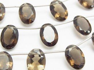 天然石卸 宝石質スモーキークォーツAAA オーバルファセットカット14×10×6mm 半連/1連(8粒)