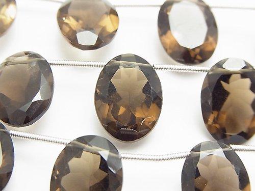 宝石質スモーキークォーツAAA オーバルファセットカット16×12×7mm 半連/1連(8粒)