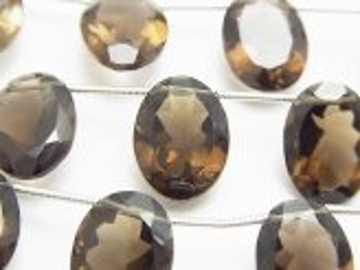 天然石卸 宝石質スモーキークォーツAAA オーバルファセットカット16×12×7mm 半連/1連(8粒)