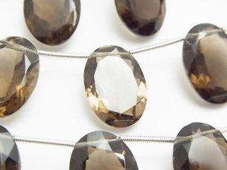 天然石卸 宝石質スモーキークォーツAAA オーバルファセットカット18×13×7mm 半連/1連(8粒)