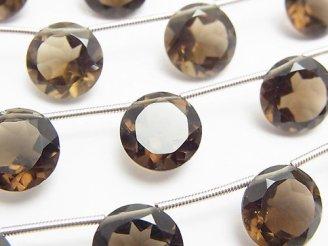 天然石卸 宝石質スモーキークォーツAAA ラウンドファセットカット11×11×6mm 半連/1連(8粒)