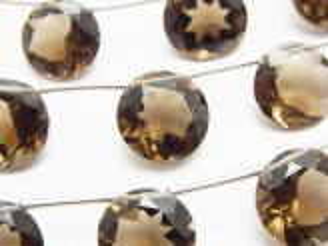 天然石卸 宝石質スモーキークォーツAAA ブリリアントカット12×12×6mm 半連/1連(10粒)