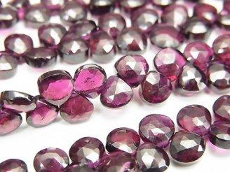 天然石卸 宝石質ガーネットAAA- マロン ブリオレットカット 半連/1連(約18cm)