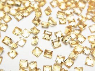 天然石卸 宝石質シトリンAAA 穴なしスクエアファセットカット3×3mm 10粒240円!